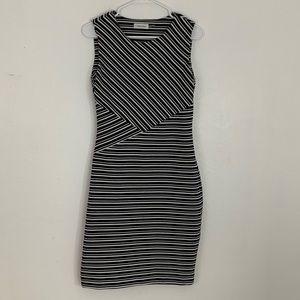 Calvin Klein Black & White Striped Dress Size 6
